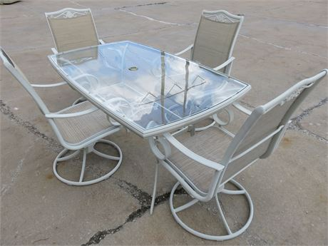 5-Piece Metal Patio Dining Table Set