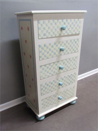 HAND CRAFTED/PAINTED SMALL 5 DRAWER CHEST