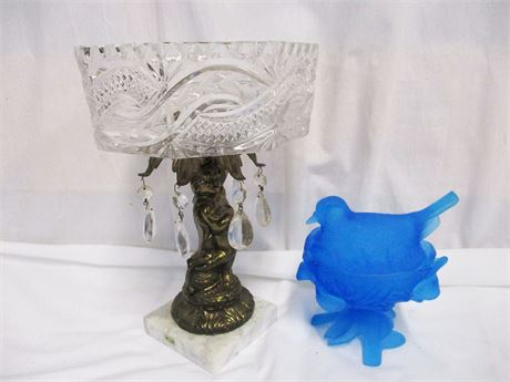 LOT OF VINTAGE DECOR FEATURING MONARCH CRYSTAL AND WESTMORELAND GLASS