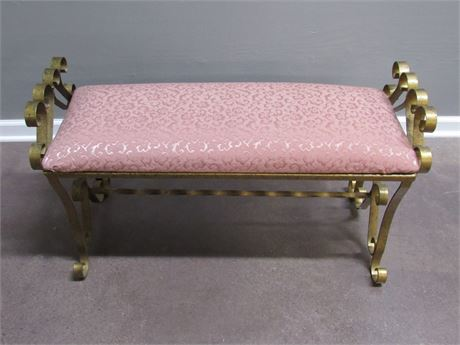 GOLD FINISHED METAL BENCH WITH UPHOLSTERED SEAT