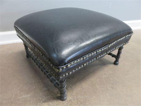 Black Leather Footstool