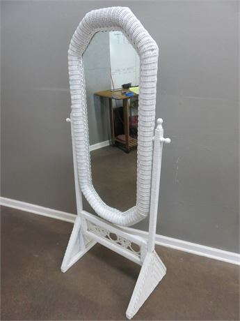 White Wicker Cheval Mirror