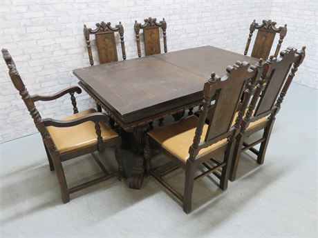 Vintage Tudor Style DIning Table Set - Farnam Manor Richfield, OH