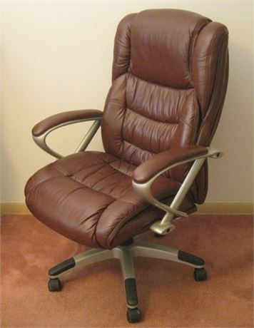 LARGE BROYHILL LEATHER ADJUSTABLE HIGH-BACK EXECUTIVE OFFICE/DESK CHAIR