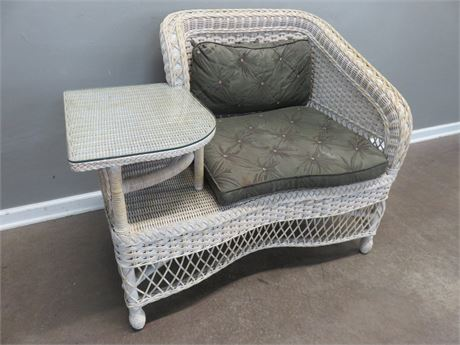 Vintage Wicker Gossip Bench