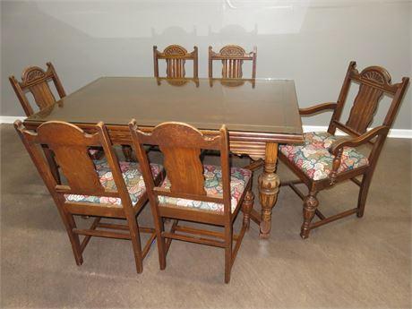 Vintage Jacobean Style Oak Dining Table Set