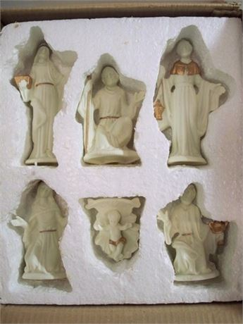 NIB 6 PIECE CERAMIC NATIVITY FIGURINES