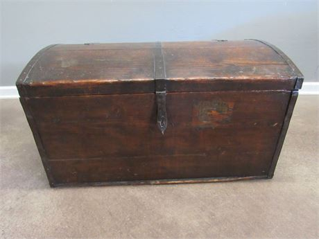 Vintage/Antique Wood Storage Chest with Wrought Iron Hardware/Handles
