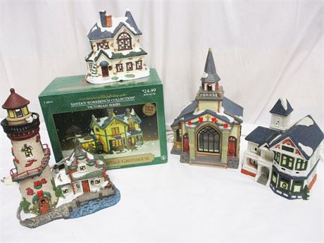 LOT OF HOLIDAY VILLAGE DECOR FEATURING ST. NICHOLAS' SQUARE