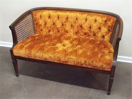 VINTAGE TUFTED VELVET SETTEE WITH CANE SIDES