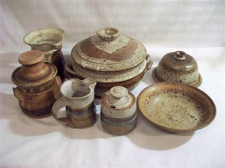 7 PIECE MISC. HAND-MADE POTTERY LOT