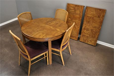 Drexel Round Dining Table with 4 Cane Back Chairs &  2 leaf inserts