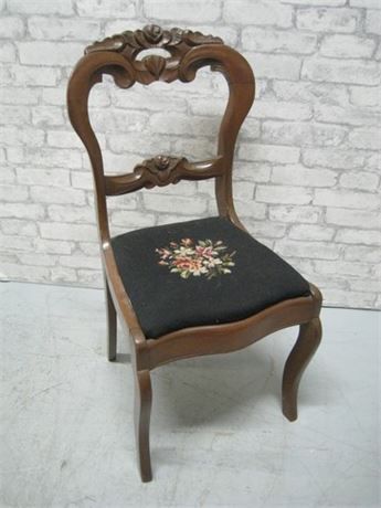GREAT LOOKING ANTIQUE CARVED WOOD CHAIR WITH NEEDLEPOINT FABRIC SEAT