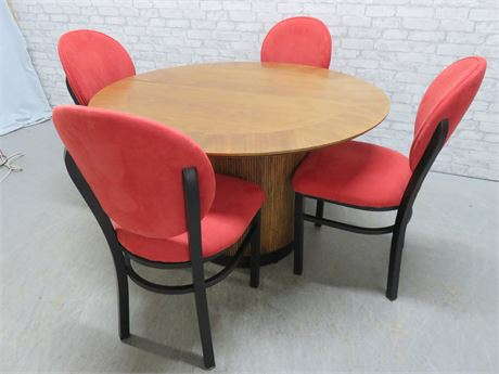 Rataan Drum Pedstal Dining Table Set