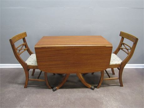 Vintage Cherry Drop-leaf Table with 2 Chairs