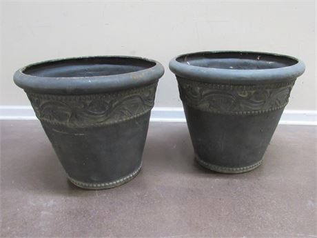 2 LARGE CLAY/POTTERY LOOK RESIN PLANTERS