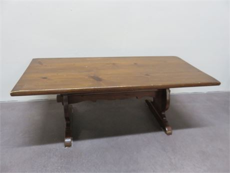 Rustic Knotty Pine Trestle Table