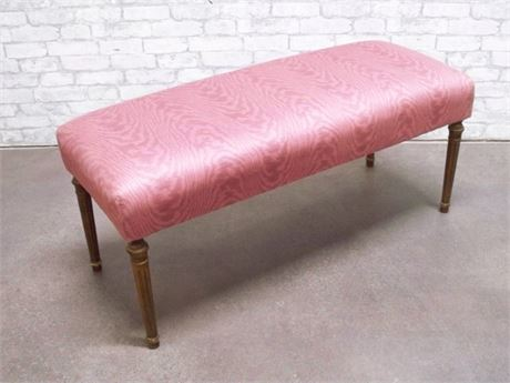 NICE VINTAGE RE-UPHOLSTERED BENCH