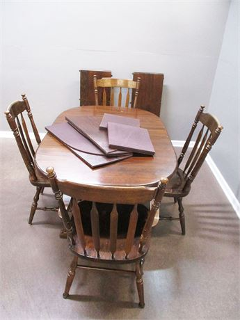 DINING TABLE, 4 CHAIRS, 2 LEAVES, PADS