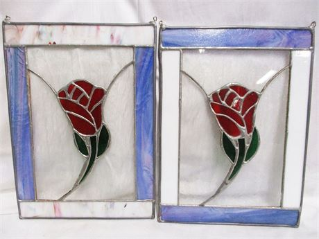 LOT OF 2 STAINED GLASS PANELS