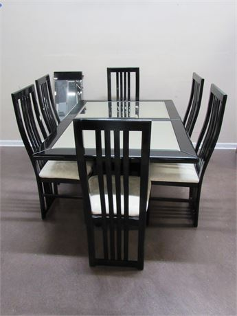 BLACK LACQUER BEVELED GLASS MIRRORED TOP DINING TABLE AND 6 CHAIRS