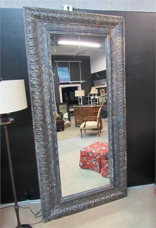 Huge Heavy Oversized Mirror with Distressed Pressed Tin Frame