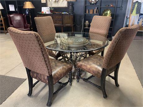 Gorgeous Lexington Glass Top Table/Four Chairs