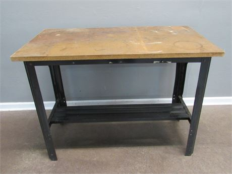 Metal Frame/Base Work Bench with Wood Top
