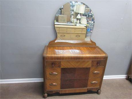 Vintage Art Deco Waterfall Dresser with Mirror