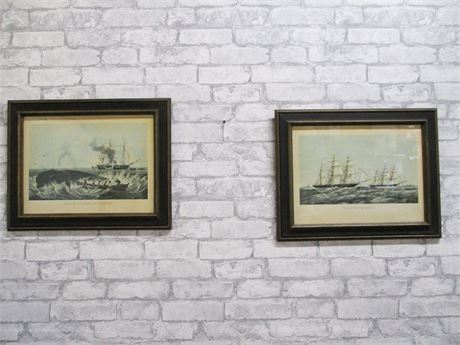 "OFFSET LITHOGRAPHS ""SOUTHSEA WHALE FISHERY"" AND ""TAEPING AND ARIEL"""