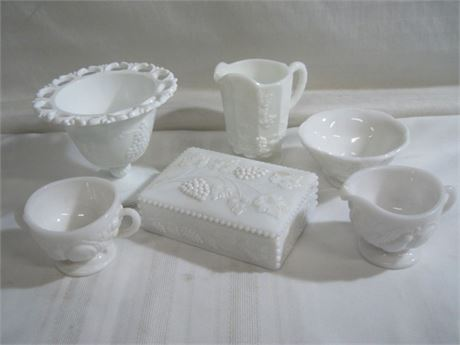 6 PIECE MISC. WHITE MILK GLASS LOT INCLUDING WESTMORELAND