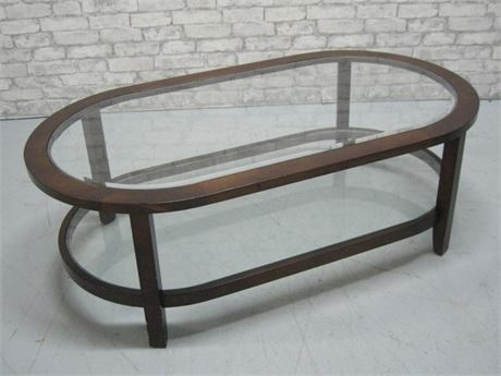 OBLONG COFFEE TABLE WITH BEVELED GLASS TOP