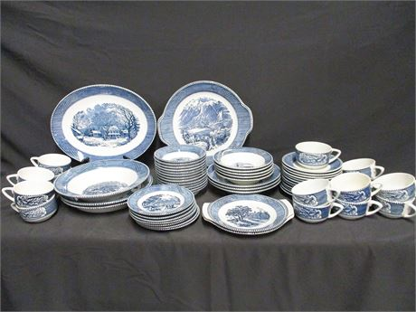 LOT OF VINTAGE CURRIER AND IVES BLUE BY ROYAL USA