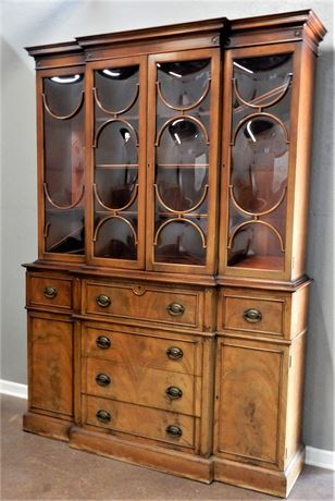 Vintage Two Piece Wood China Hutch with Bubble Glass Front.