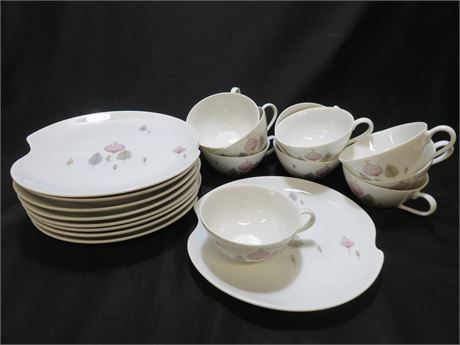 Vintage Mid-Century Summit Fine China Luncheon Plate/Cup Set