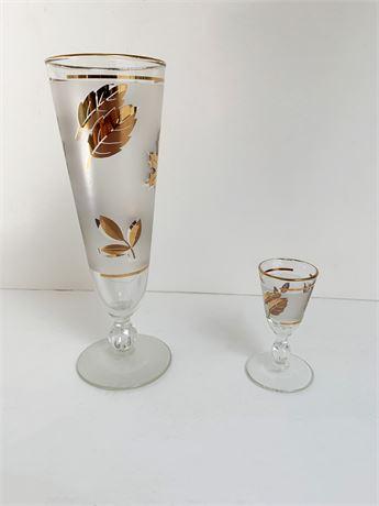 Mid Century Gold Leaf Glasses