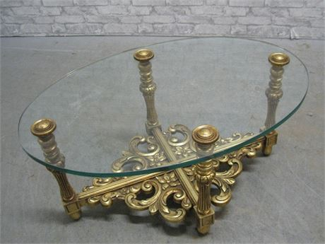 ORNATE GOLD FINISHED GLASS TOP COFFEE TABLE