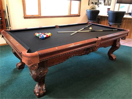 STUNNING AMERICAN HERITAGE BILLIARD TABLE WITH BALL AND CLAW FEET