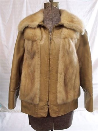 VOLLBRACHT FURRIERS BLONDE MINK AND LEATHER JACKET
