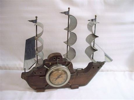 VINTAGE TALL SHIP OXFORD ELECTRIC MANTEL CLOCK