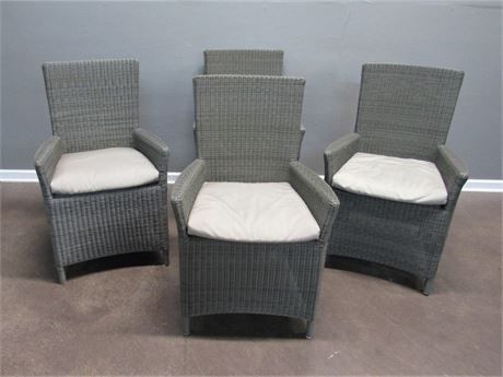 4 Nice Synthetic Wicker Patio Chairs with Cushions