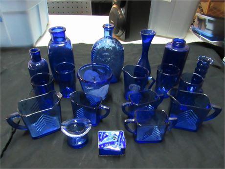 19 Piece Cobalt Blue Glass Lot - Many Vintage Pieces