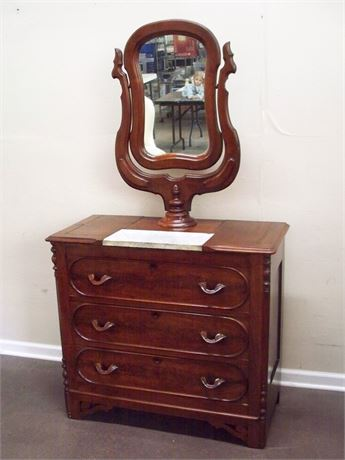 ANTIQUE 3 DRAWER DRESSER WITH MIRROR
