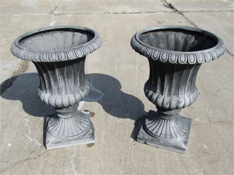 2 LARGE RESIN URNS/PLANTERS