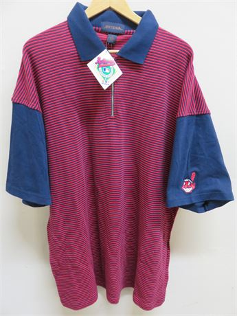 CLEVELAND INDIANS Quarter Zip Polo Shirt - Size XL
