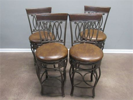 4 Metal and Wood Swivel Bar Stools with Upholstered Seats