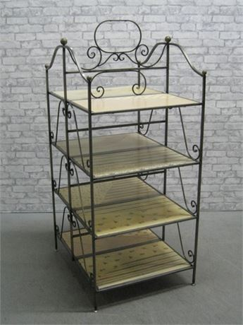 GREAT LOOKING 2-SIDED 4-TIER WROUGHT IRON BAKER'S RACK