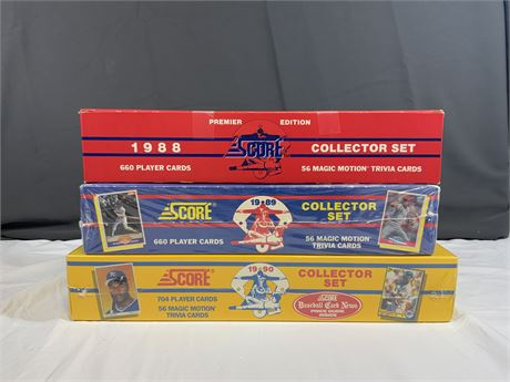 (3) SEALED Score Baseball Factory Sets