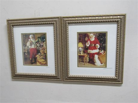 2 FRAMED AND DOUBLE MATTED SANTA CLAUS PICTURES