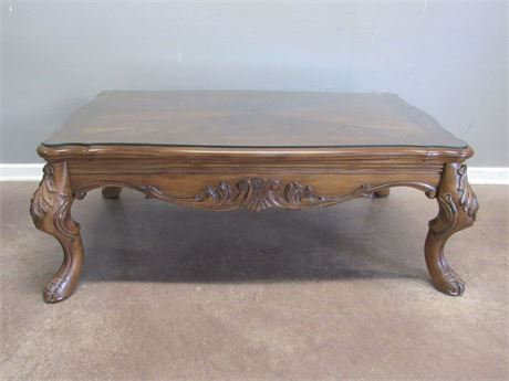 Coffee Table with Carved Detail, Inlay and a Protective Glass Top